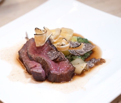 Aged Wagyu Beef Tenderloin with White Truffle–Potato Gratin, Braised Salsify, Creamed Arugula, and Bordelaise