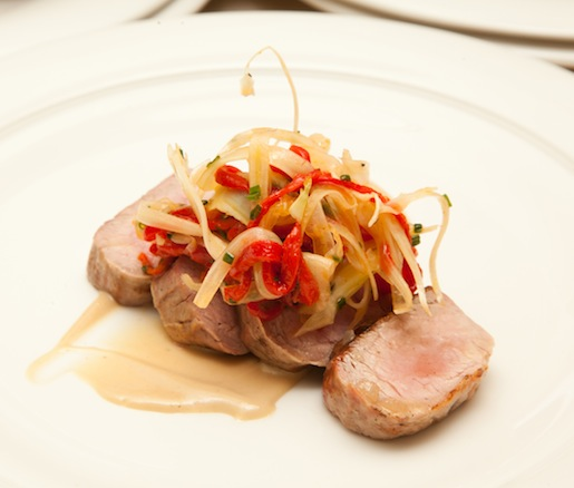 Pork Tenderloin with Roasted Garlic–Pine Nut Jam and Shaved Fennel–Piquillo Pepper Salad