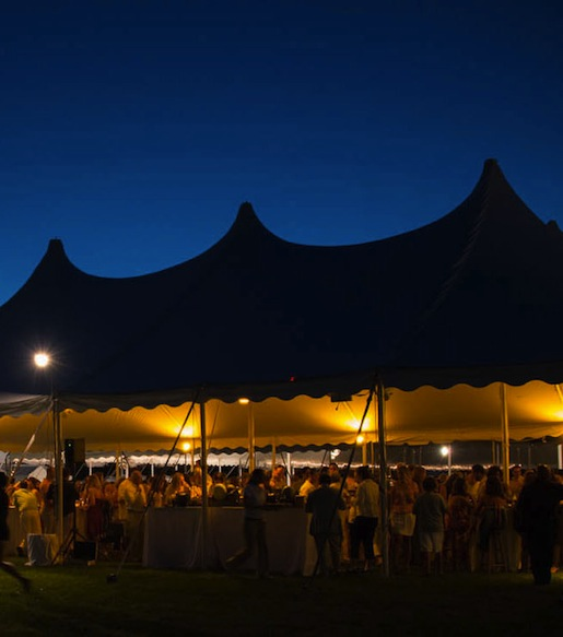 The Chefs & Champagne tent by night