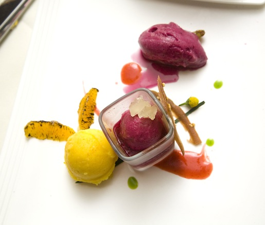 Tangerine, Grape, and Pomegranate Sorbets
