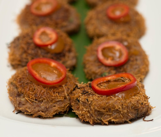 Rajma Tikki with Kidney Beans, Roasted Vermicelli, and Rhubarb Chutney