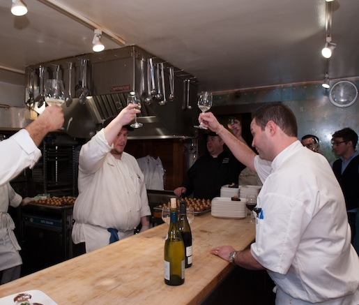 Chef Tason Tilmann toasts his team at the Beard House