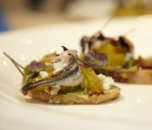 Avocado Toasts with Pickled Peaches, White Anchovies, Pickled Shallots, and Feta Cheese