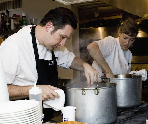 Todd Duplechan and Jessica Maher behind the scenes at the James Beard House kitchen