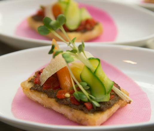 Pan Sautéed Tofu with Mushroom Ragoût, Roasted Red Pepper, and Baby Vegetables