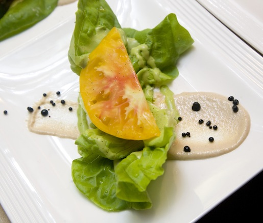 Kentucky Bibb Lettuce with Heirloom Tomatoes, Mozzarella, Warm Basil Vinaigrette, and Pine Nuts