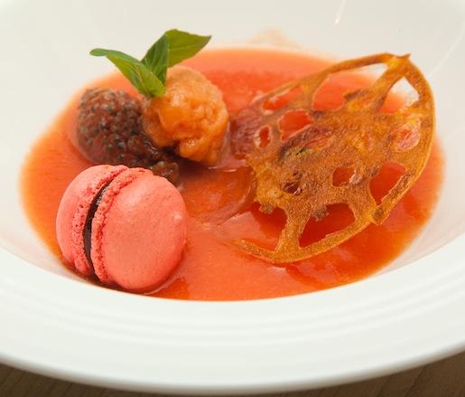 Tomato Still Life > Dehydrated Tomato with Tomato Sorbet, Basil Macaron, and Tomato Jam