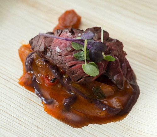Grilled hanger steak with pepperonata, basil, basil, and tapenade from Andrew Matthews of BLT Prime