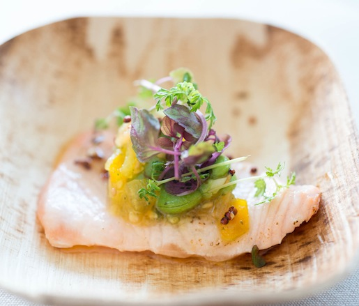 Torched Organic Salmon with Fava Beans, Kaffir Lime, and Sun Gold Tomatoes by Todd Mitgang (Crave Fishbar)