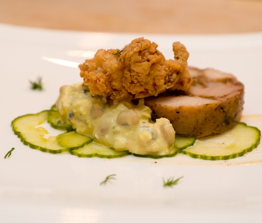 Cold Fried Chicken Torchon with Field Pea Salad, Crispy Chicken Skin, White Barbecue Sauce, and Pickles