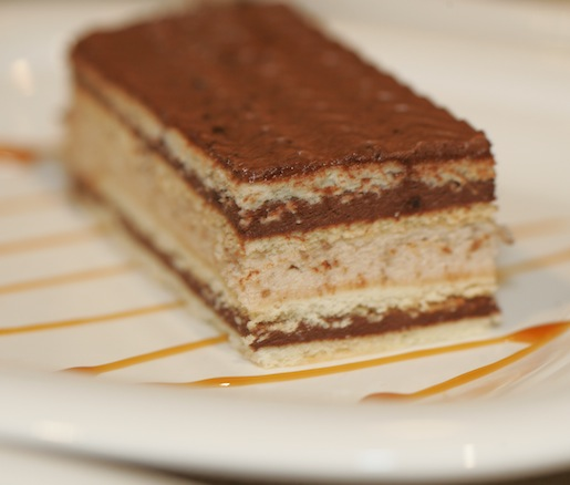 Dobostorte​ > Chocolate–Buttercream Layered Torte with Chestnuts, Caramel Sauce, and Vanilla Wafer