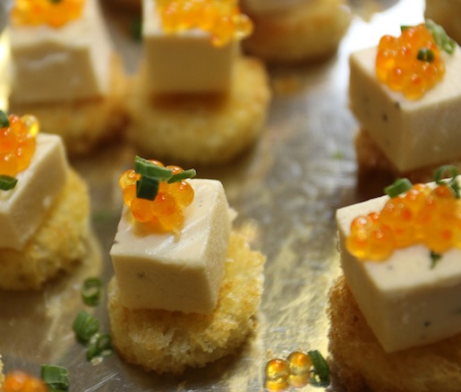 Smoked Sunburst Trout Mousse with Trout Caviar on Toasted Brioche