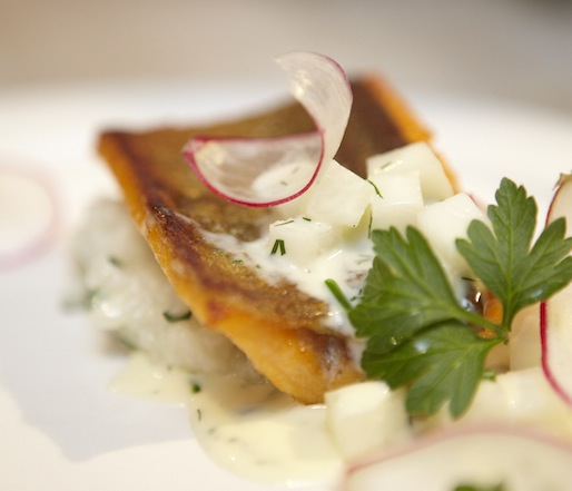 Sunburst Trout with Bagna Cauda, Clams, Charleston Rice, and Radishes