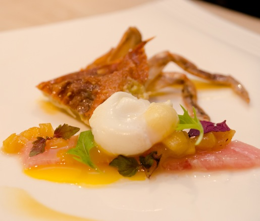 Softshell Crab with Tuna Belly Crudo, Quail Egg, and Spiced Preserved Pineapple