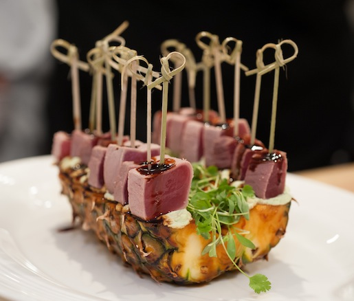 Tuna Sashimi with Edamame, Micro-Arugula, and Aged Soy Vinaigrette