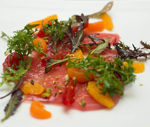 Yellowfin Tuna Crudo with DiSanti Farms Citrus, Pistachios, and Blood Orange Agrumato