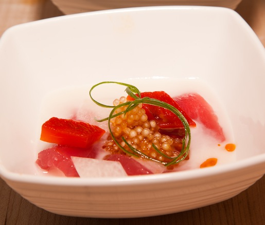 Shaved Tuna with Chili Tapioca, Asian Pears, and Lime