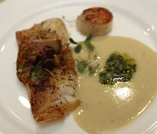 Turbot and Scallop with Green Chile Pasado, Savory White Chocolate–Infused Bean Stew, Chanterelles, and Chile de Árbol Chimichurri