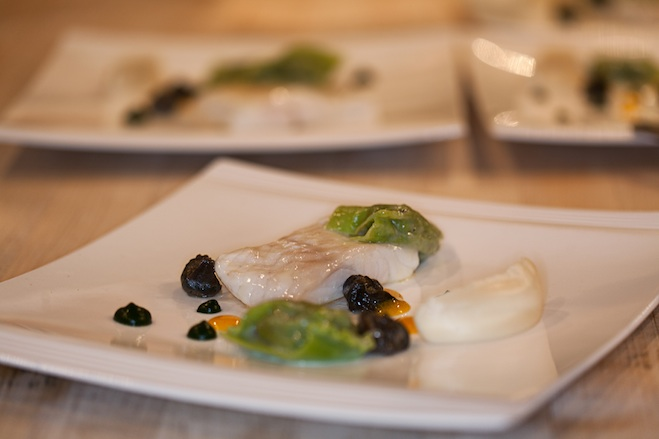 Holland Turbot with Escargot Agnolotti, Parsley Root, and Meyer Lemon