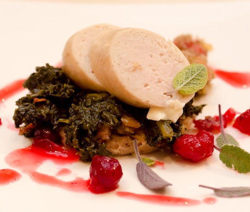 Turkey Boudin with Cranberries and Kale