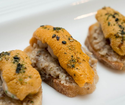 Santa Barbara Uni Toasts with Shrimp Boudin, Shiitake Duxelles, and Furikake