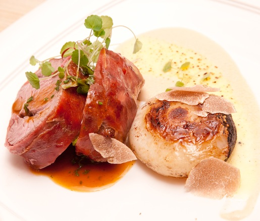 Veal Tenderloin Medallions with Sweet Onion Pâté, Prosciutto di Parma, and Truffled Crème Brûlée