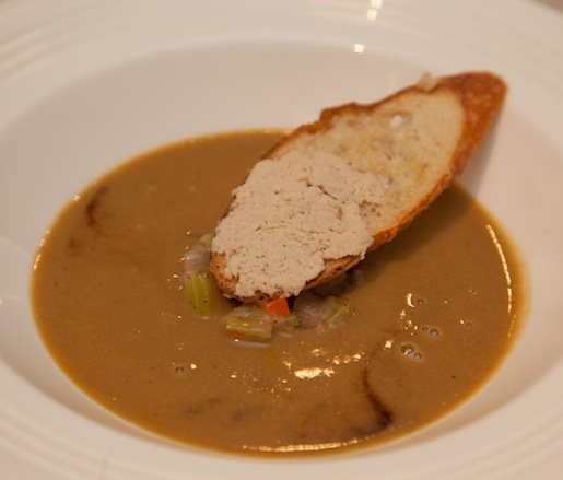 Pheasant Velouté with Garlic Sausages, Vegetable Matignon, and Foie Gras Toast