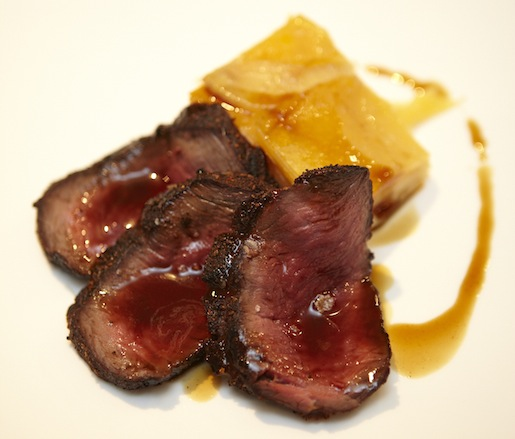 Venison Loin with Juniper–Armagnac Jus and Rutabaga Gratin