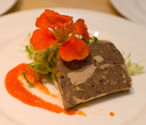 Local Venison Terrine with Criollo Spices, Ají Marmalade, and Frisée