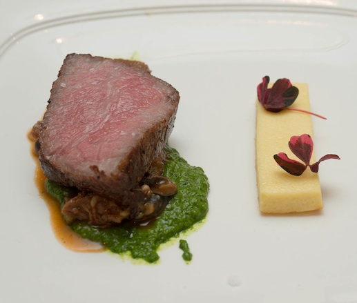 Miyazaki Japanese Wagyu Beef with Mary's Garden Basil Snails, Parsnip Flan, Salsa Verde, and Sorrel Blossoms