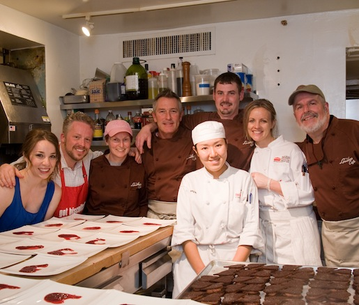 Alisa Huntsman, Bart Pickens, Daniel Dillingham, and George Harvell with members of their team in the Beard House kitchen