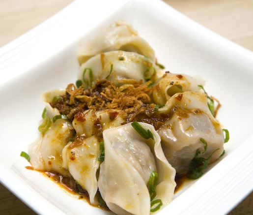 Rose Veal Wontons with Fermented Chili Sauce and Crispy Shallots