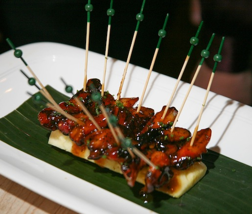 Baby Octopus Yakitori with Togarashi and Nori–Scallion Gremolata