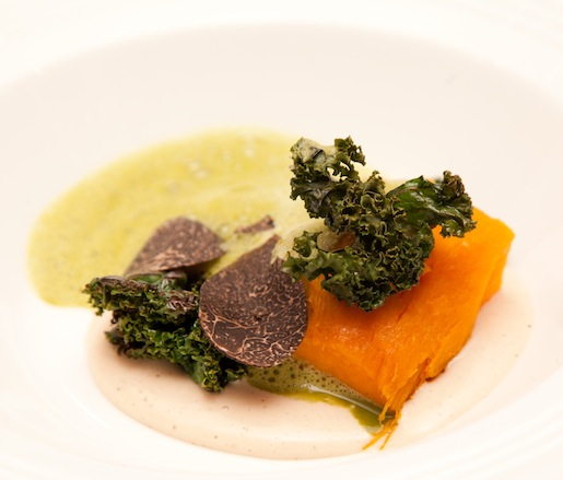 Hay-Baked Sweet Yams with Black Truffle–Kale Nage