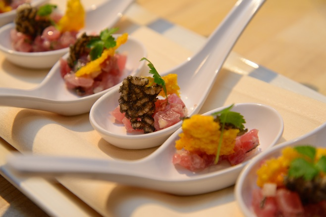Yellowfin Tuna Paillard with Chives, Saffron Rice Puffs, and Black Truffle Vinaigrette