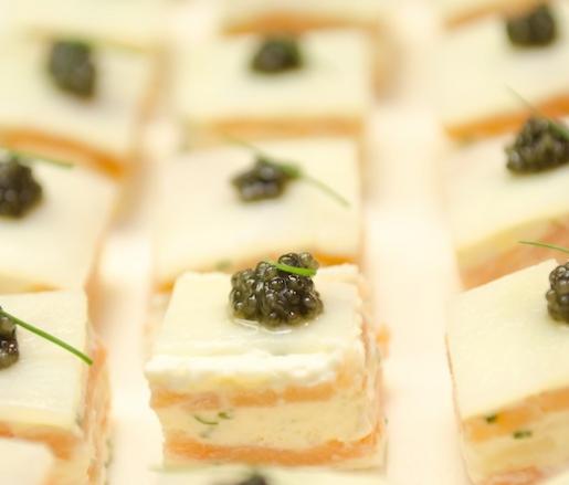 Smoked salmon with Créme Fraîche Panna Cotta, Potato, and Caviar
