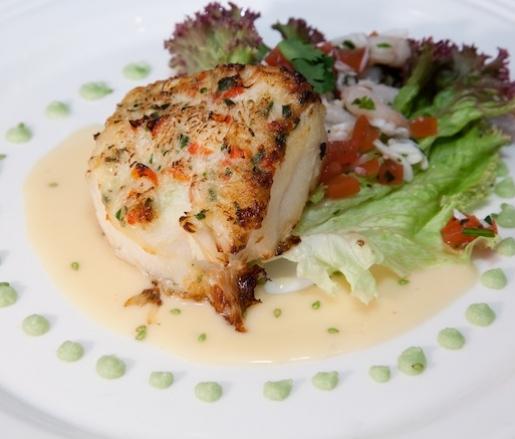 ... Sea Bass with Alaskan Red King Crab Crust, King Crab Salad, and Wasabi