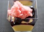 Recipe from lime flan parfait with blueberries and watermelon granita,