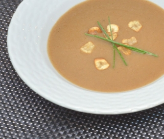 ... Mushroom Soup with Garlic Chips and Chives | James Beard Foundation