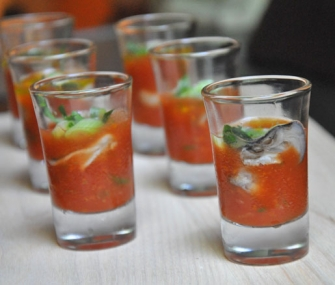 Oyster Shooter Oyster Shooters with Tomato