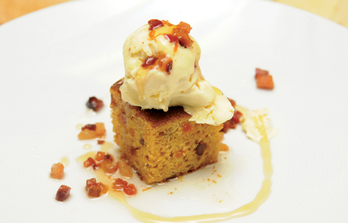 Honey, Bacon, and Apricot Cornbread with Maple Ice Cream