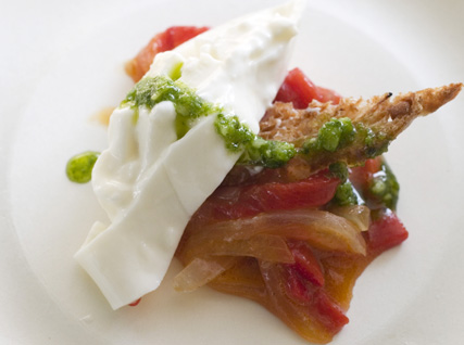 Kerry Heffernan's Housemade Burrata with Basquaise Peppers and Marjoram