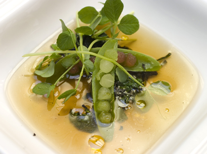 Pea Soup with Dashi, Burnt Pea Tendrils, and Honeydew Melon and Watermelon Balls
