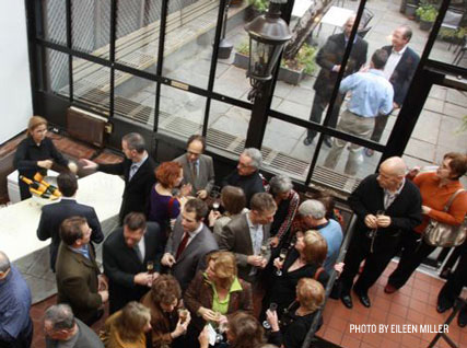 Guests mingle in the Beard House.