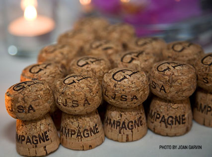 Champagne corks lined up at the Beard House.