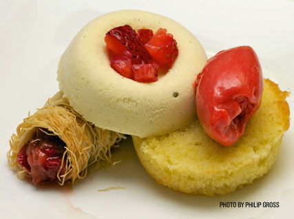chamomile parfait, semolina cake, and kataifi-wrapped strawberries