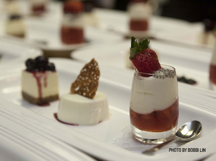 Chèvre Cheesecake with Blueberry Compote; Buttermilk Panna Cotta with Huckleberries; and Strawberry Parfait