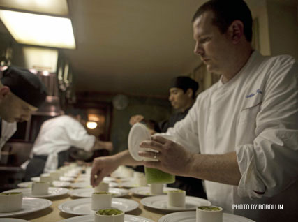 Plating a dish in the Beard House kitchen.