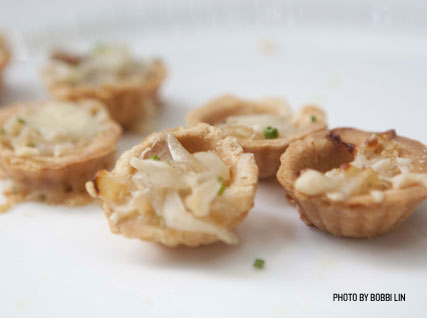Mini scallop tarts served at a Beard House dinner.