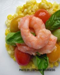 Poached Shrimp with Creamed Corn, Marinated Tomatoes, Butter Beans, and Basil
